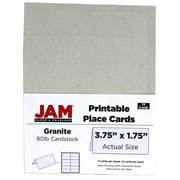 JAM Paper Place Cards, Gray, 3.75 x 1.75, 12/Pack (225928566)
