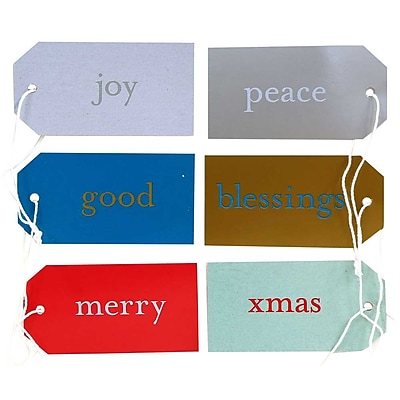 JAM Paper Gift Tags 3 1 16 x 1 5 8 Assorted Christmas Expressions 6 pack 297528738