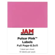 JAM Paper® Full Page Labels, 8.5 x 11 Sticker Paper, AstroBrights® Pulsar Pink, 10/pack (337628698)