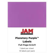JAM Paper 8.5 x 11, Full Page Labels, Purple, 10/Pack (55121605)