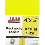 JAM Paper® Mailing Address Labels, 4 x 5, Neon Yellow, 120/pack (354329153)