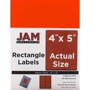"JAM Paper 4"" x 5"" Address Labels, Neon Red, 120/Pack (354329162)"