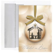 "JAM Paper ""Child is Born"" Ornament Christmas Card Set, 7.9"" x 5.6"", 16/Pack (526868300)"