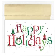 JAM Paper® Christmas Holiday Cards Set, Happy Holidays, 18/pack (526869800)