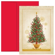 JAM Paper® Christmas Holiday Cards Set, Christmas Tree, 18/pack (526869900)