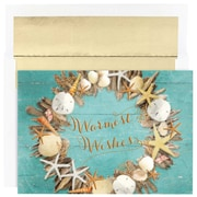 "Coastal Wreath Christmas Christmas Card Set, 5.6"" x 7.9"", 18/Pack (526873700)"