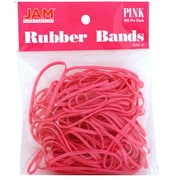JAM Paper Pink Rubber Bands, Regular Size, 100/Pack (333RBpi)