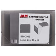 JAM Paper® 13 Pocket Expanding File, Letter Size, 9 x 13, Smoke Grey, Sold Individually (418EX13SM)