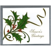 "JAM Paper Holly With Gold Ribbon Christmas Card Box Set, 4.25"" x 5.5"", 25/Pack (52614492L)"