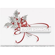 "Silver Holly Christmas Blank Card Sets, 5.625"" x 7.875"", 25/Pack (526B2860WB)"