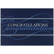 "JAM Paper White and Blue Script ""Congrats"" Blank Congratulations Card Sets, 5.625"" x 7.875"", 25/Pack (526BG421WB)"