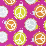 JAM Paper® Christmas Holiday Gift Wrapping Paper, 18.75 sq. ft., Pink Peace Ornaments, Sold Individually (526IG70135D)