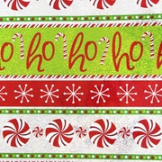 JAM Paper® Christmas Design Wrapping Paper, Ho Ho Ho, Candy Cane, Snowflakes Stripe, 15 Sq Ft (526IG70141A)