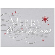 JAM Paper Merry Christmas with Snowflakes Holiday Blank Christmas Card Sets, 5.625 x 7.875, 25/Pack (526M0182B)