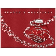 "JAM Paper Red Ornament with Silver Stars Blank Christmas Card Sets, 5.625"" x 7.875"", 25/Pack (526M0390WB)"