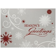 "JAM Paper ""Seasons Greetings"" Red on Silver Blank Christmas Card Set, 5.625"" x 7.875"", 25/Pack (526M0544B)"