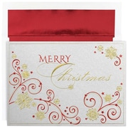 "JAM Paper Swirls of Christmas Holiday Christmas Card Set, 7.9"" x 5.6"", 16/Pack (526M0875MB)"