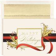 """JAM Paper Holiday Trimmings Christmas Card Set, 7.9"""" x 5.6"""", 16/Pack (526M0999MB)"""
