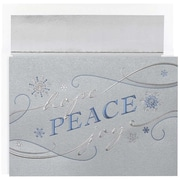"JAM Paper Peace Snowflakes Christmas Christmas Card Set, 7.9"" x 5.6"", 16/Pack (526M1016MB)"