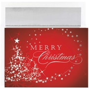 JAM Paper® Christmas Holiday Cards Set, Merry Christmas Sparkles, 16/pack (526M1025MB)