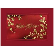 "Happy Holidays Holly Christmas Blank Christmas Card Sets, 5.625"" x 7.875"", 25/Pack (526M8986B)"