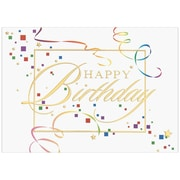 "JAM Paper Happy Birthday Squares Blank Card Sets, 5.625"" x 7.875"", 25/Pack (526XA4826WB)"