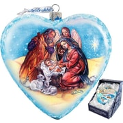 G Debrekht Holiday Limited Edition Nativity Glass Heart Ornament