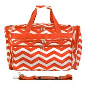 World Traveler Chevron 19'' Shoulder Duffel; Orange / White
