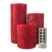 TheAmazingFlamelessCandle Holiday Collection Flameless 3 Piece Pillar Candle Set with Remote; Gold