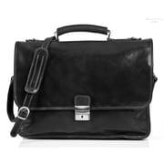 Tony Perotti Torino Leather Laptop Briefcase; Black
