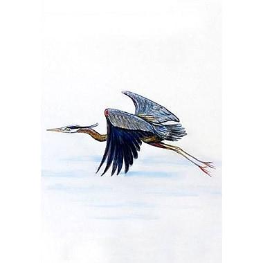 Betsy Drake Interiors Eddie's Blue Heron Vertical Flag; 12'' W x 18'' H