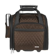 Travelon 14'' Rolling Underseat Quilted Microfiber Carry On; Chocolate