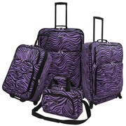 U.S. Traveler Fashion 4 Piece Spinner Luggage Set I; Purple Zebra