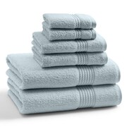 Kassatex Combed Long Staple Twist Cotton- 6 Piece Towel Set; Pearl Blue
