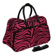 World Traveler Deluxe 20'' Travel Duffel; Fuchsia Black Zebra