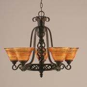 Toltec Lighting Elegant  5-Light Shaded Chandelier; Tiger Glass