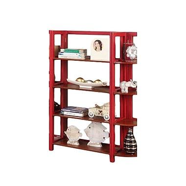 InRoom Designs 42'' Standard Bookcase; Red / Walnut