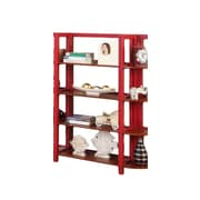 InRoom Designs 42'' Etagere Bookcase; Red / Walnut