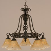 Toltec Lighting Elegant  5 Downlight Chandelier with Marble Glass; Amber Crystal Glass