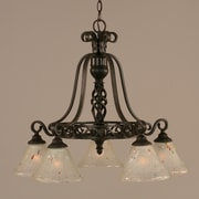 Toltec Lighting Elegant  5-Light Shaded Chandelier; Frosted Crystal Glass