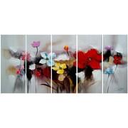 DesignArt Textured Flowers 5 Piece Original Painting on Canvas