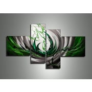 DesignArt Abstract 4 Piece Original Painting on Canvas Set in Green and Silver