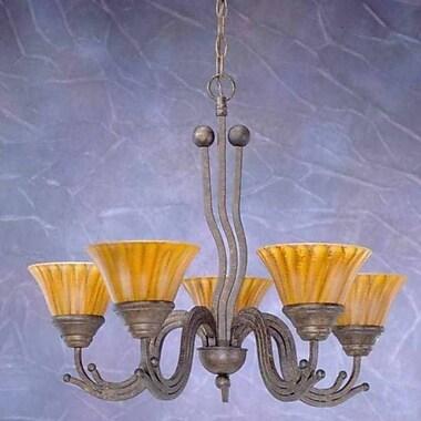 Toltec Lighting Wave 5-Light Shaded Chandelier; Bronze