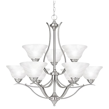 Thomas Lighting Prestige 9 Light Shaded Chandelier; Brushed Nickel