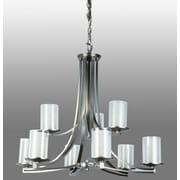 DVI Essex 9 Light Chandelier; Chrome with Half Opal Glass Shade