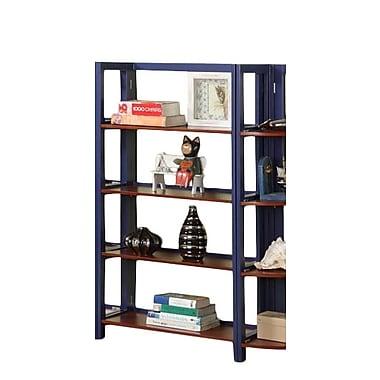 InRoom Designs 42'' Standard Bookcase; Dark Blue / Walnut
