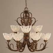 Toltec Lighting Swan 9 Light  Chandelier with Crystal Glass Shade; Italian Ice