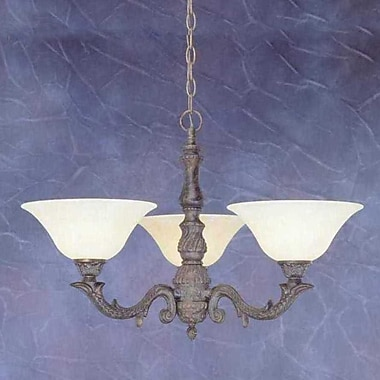 Toltec Lighting Olde Manor 3 Light Chandelier w/ Marble Glass; Amber Marble Glass