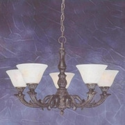 Toltec Lighting Olde Manor 5 Light  Chandelier with Marble Glass; Italian Marble Glass