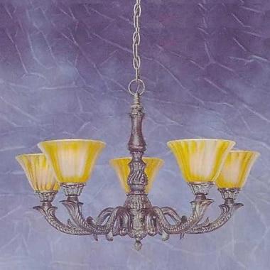 Toltec Lighting Olde Manor 5 Light Chandelier w/ Marble Glass; Tiger Glass